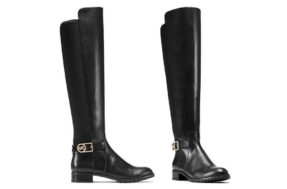 cheap for discount great deals enjoy lowest price Michael Kors Black Bryce Stretch Leather Tall Riding Boots/Booties Size US  5.5 Regular (M, B) 56% off retail