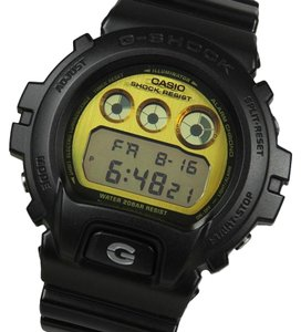 G-Shock DW6900PL-1 Men's Black Silicon Band and Gold Digital Dial Watch