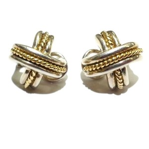 """Tiffany & Co. GORGEOUS!!! Tiffany & Co. 18 Karat Yellow Gold and Sterling Silver """"X"""" Earrings"""