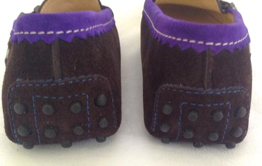 Tod's Suede Driver Moccasins Loafers Dark Brown Purple Flats