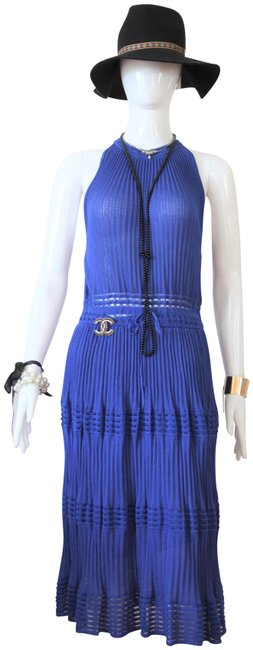Item - Blue Knitwear Sleeveless Lady Fashion Italy 42it M Mid-length Cocktail Dress Size 8 (M)
