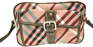 Burberry Nova Leather Check Brown Pink Cross Body Bag