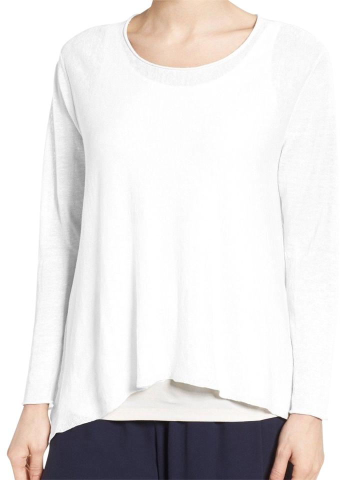 13a0e63f01724 Eileen Fisher White Swing Linen Blouse Size 6 (S) - Tradesy