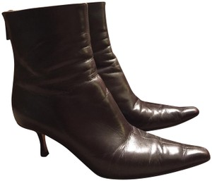 Jimmy Choo Ankle Zippered Pointed Toe Brown Boots