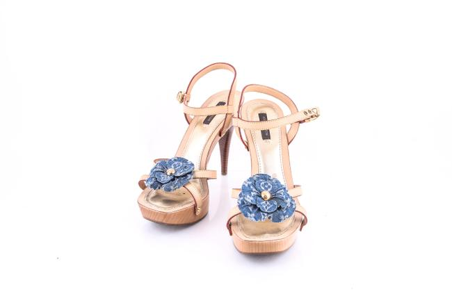 Item - Blue Monogram Denim Flower Platform Strappy Sandals Size US 8 Regular (M, B)