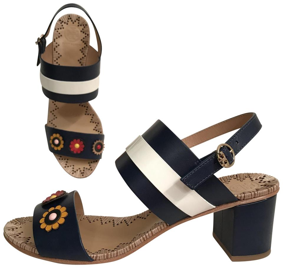 3821dcc24282 Tory Burch Blue Multi Marguerite New Leather   Patent 55mm Two Band Navy  Sandals