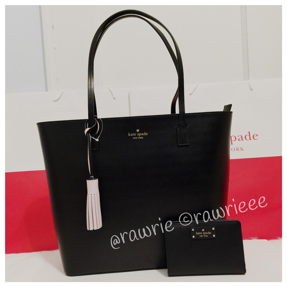 Kate Spade Set Gift Matching Leather Tassel Tote In Black
