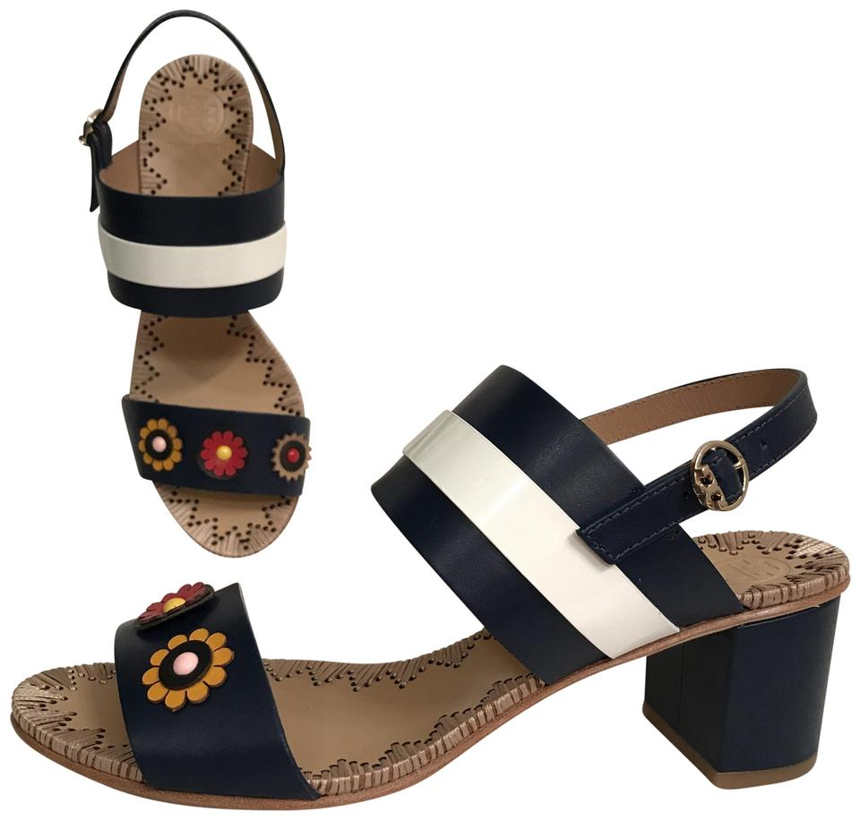 c03d8adbd0de41 Tory Burch Blue Multi Marguerite New Leather   Patent 55mm Two Band Navy  Sandals