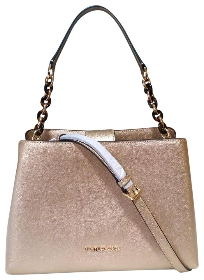 43ba5c40955c Michael Kors Portia Large Saffiano Pale Gold Leather Satchel - Tradesy