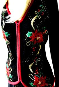 Heirloom Collectibles Vintage Christmas Holiday Beads Cardigan