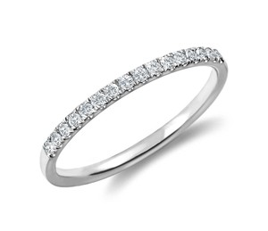 Blue Nile Petite Cathedral Pave Diamond Ring in Platinum