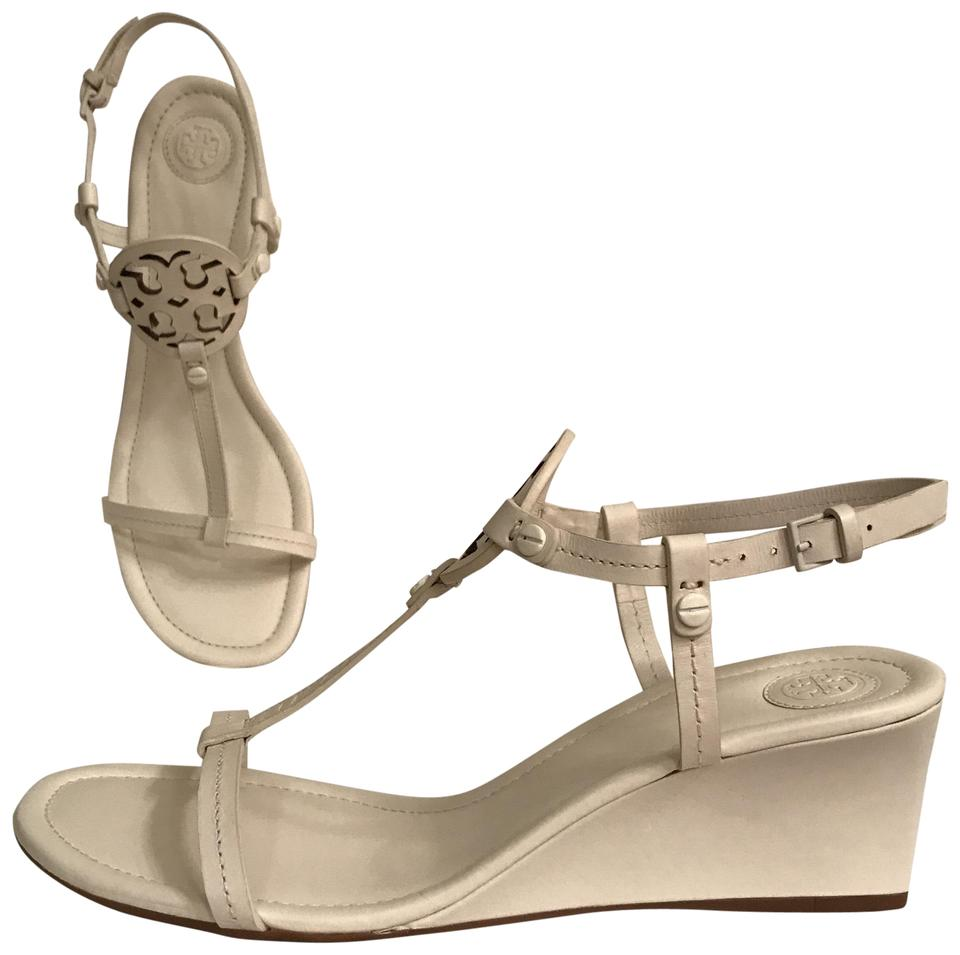 eac1febf611 Tory Burch Leather Wedge Slingback Designer Summer White Ivory Sandals  Image 0 ...