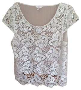 Candie's Top Ivory With Silver