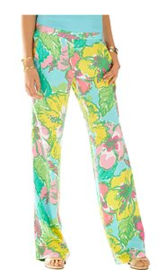 Lilly Pulitzer Shorely Blue Big Flirt Palazzo Wide Leg Pants Floral