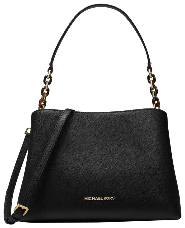 a231a8b13109 Michael Kors Sofia Portia Large East West Black Leather Satchel ...