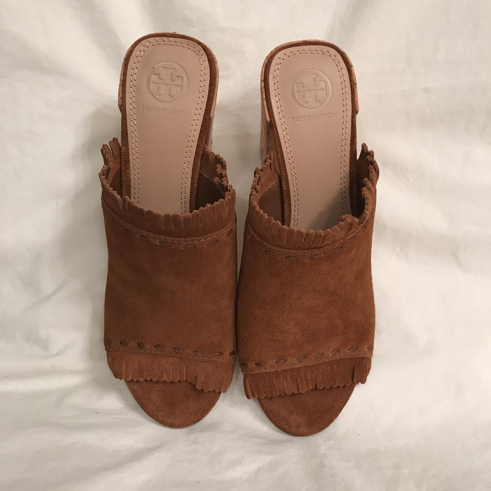 117f5aea3c7 Tory Burch Brown Beige New Suede W Fringe Huntington 90mm Mules ...