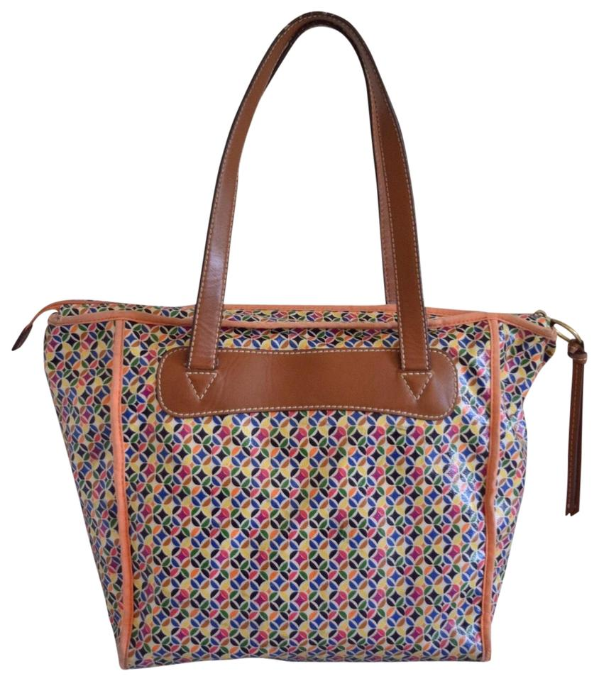 Fossil Tote In Multi Color Orange