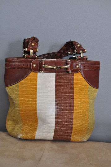 Gucci Yellow And Multicolor Striped Canvas With Brown Leather Braided Straps Gold-tone Hardware Hobo Bag
