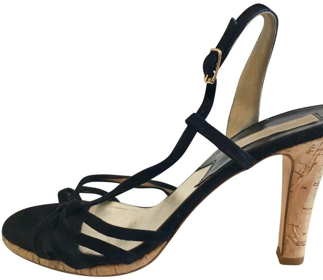Item - Black Suede Sandals with Cork Heel/Sole Formal Shoes Size US 8.5 Regular (M, B)