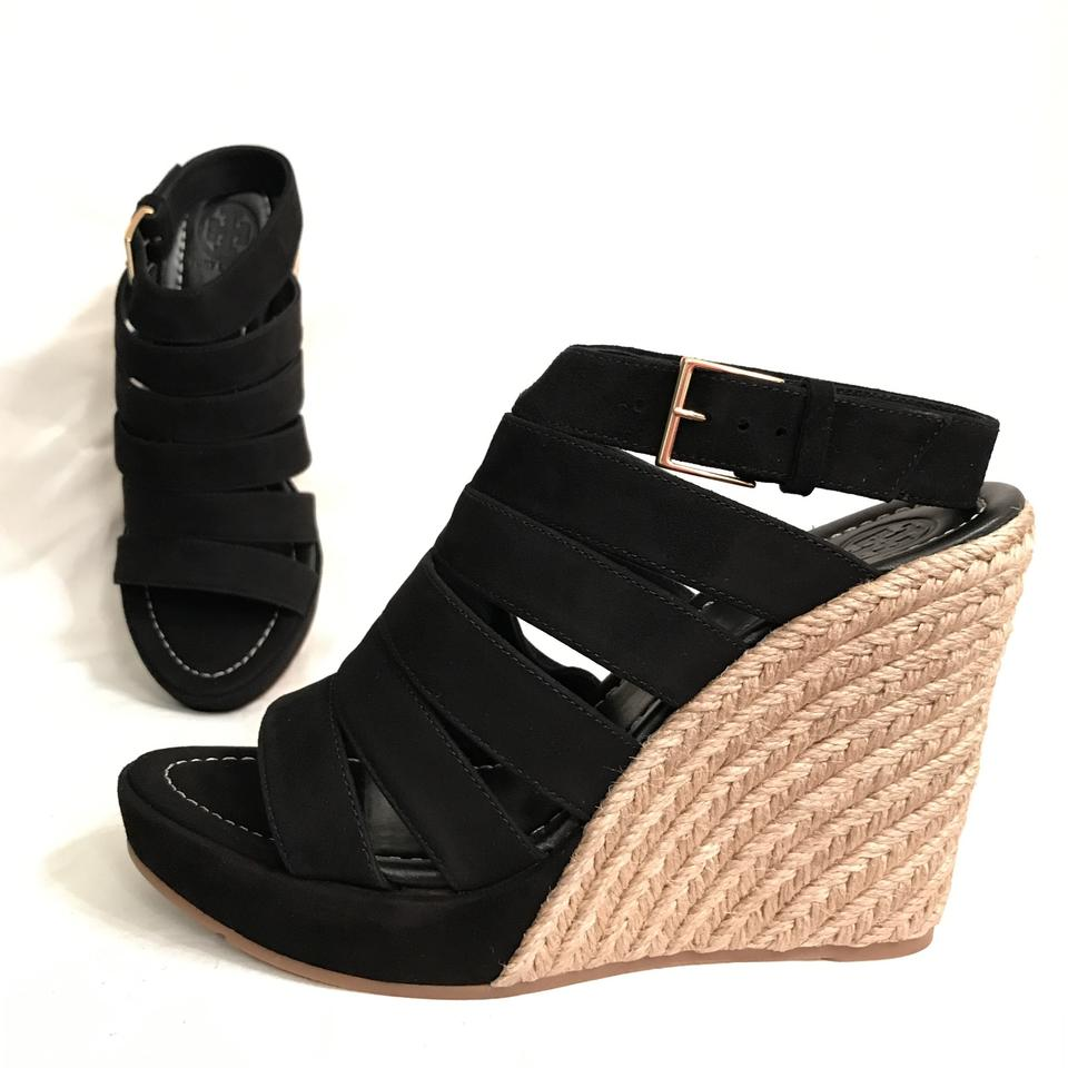 e7a8e3f62 Tory Burch Wedge Suede Leather Platform Designer Black Beige Sandals Image  0 ...