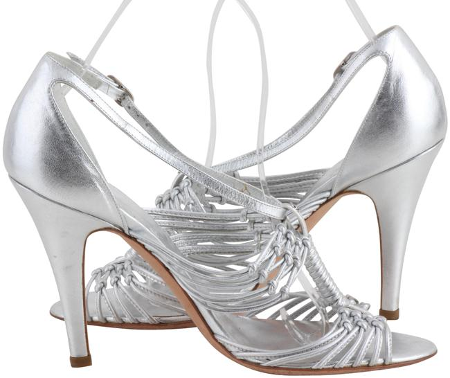 Item - Silver Metallic Leather Woven Strappy Sandals Size US 7.5 Regular (M, B)