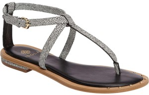 Isola T-strap Leather black/white Sandals