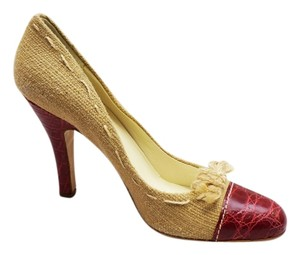 Prada New Canvas Reptile Embossed Leather Almond Toe Cap Toe Ribbon Heels 9 Tan, Red Pumps