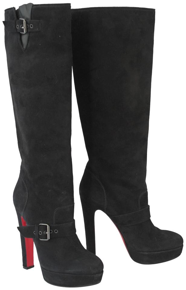9ce7b1f2ed9 Christian Louboutin Black Harletty 40.5it Platform Knee High Heel Lady  Fashion Red Sole Suede Boots Booties