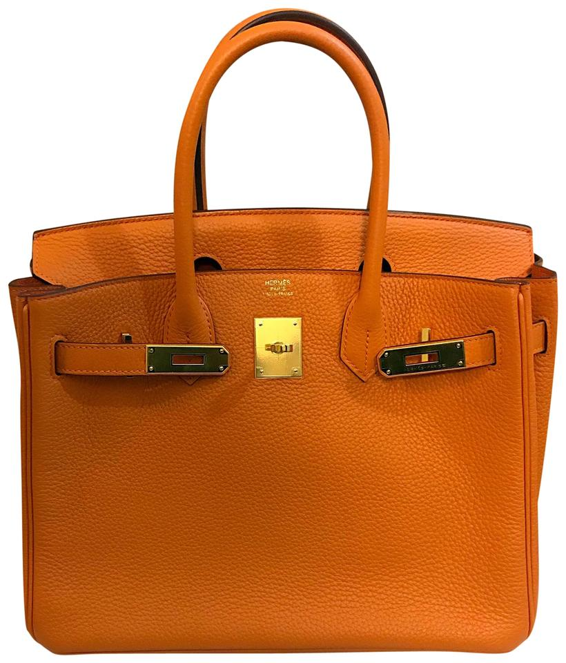 Hermès Birkin 30 93 Clemence with Gold Hardware Orange Leather Tote 752477b2612d0