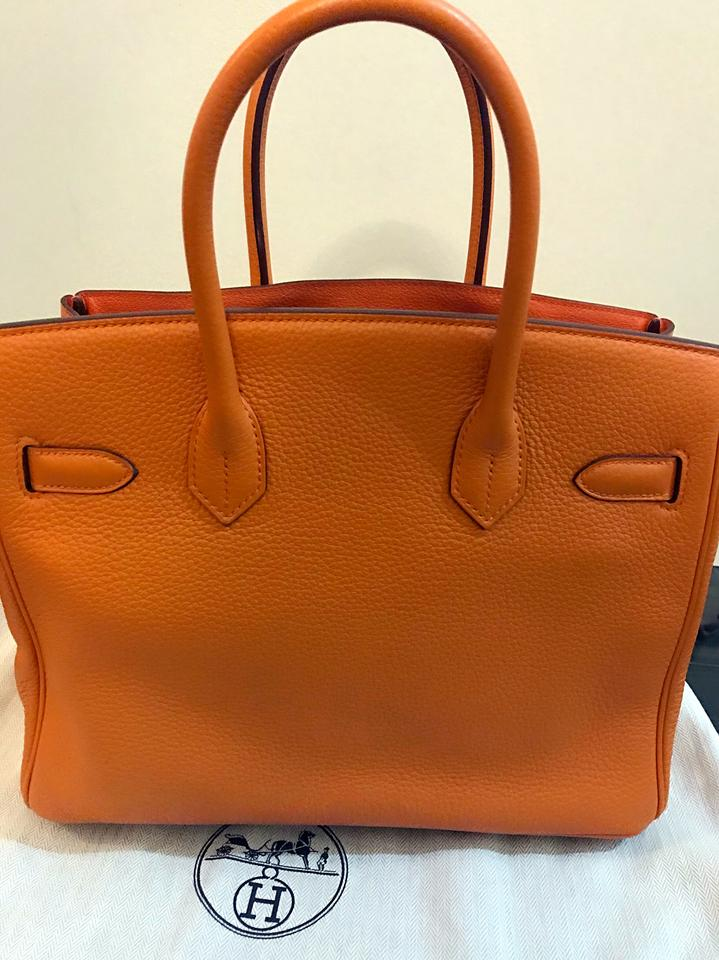 Hermès Birkin 30 93 Clemence with Gold Hardware Orange Leather Tote ... 023020adc5cae