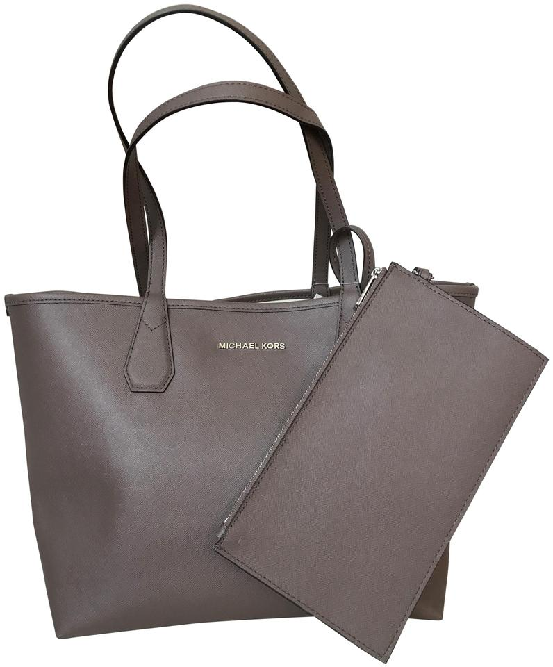 ea6d885c6504 Michael Kors Candy Reversible with Pouch Cinder Ecru Coated Canvas Tote