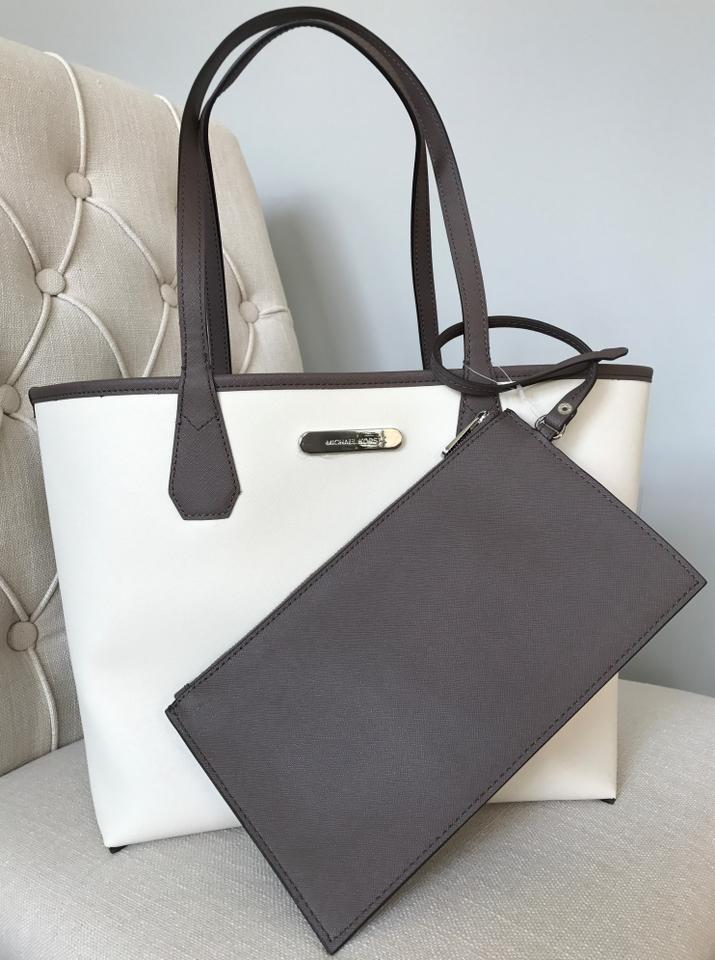 978a6796d66e Michael Kors Candy Reversible with Pouch Cinder Ecru Coated Canvas Tote -  Tradesy