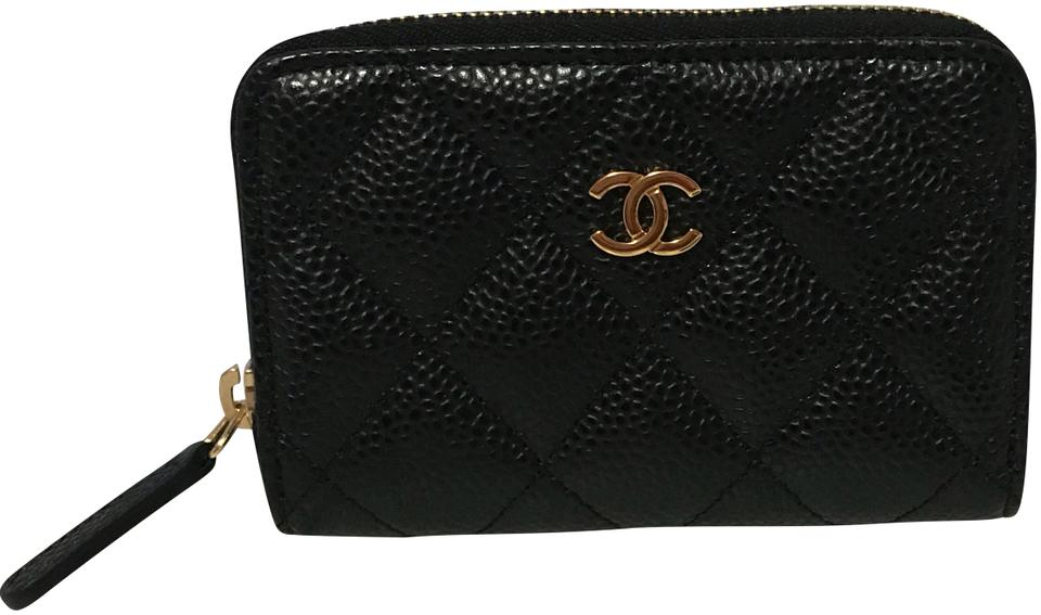 d4cdf6c9d455 Chanel Black Classic Caviar Leather Quilted Zip Coin Purse Wallet ...