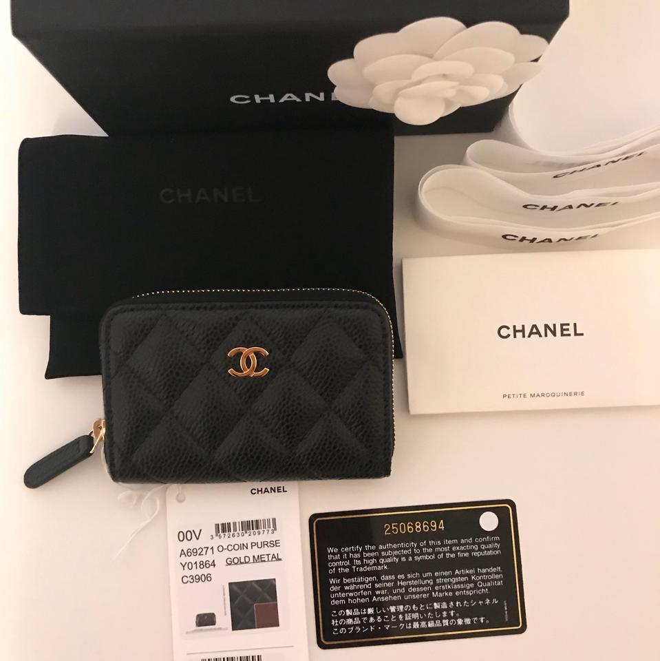 e63b6c9e9d9f Chanel Brand New Classic Caviar Leather Quilted Zip Coin Purse Image 11.  123456789101112