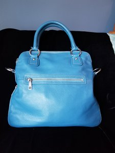 Talbots Soft Leather White Topstitching Silver Hardware Satchel in Sky Blue