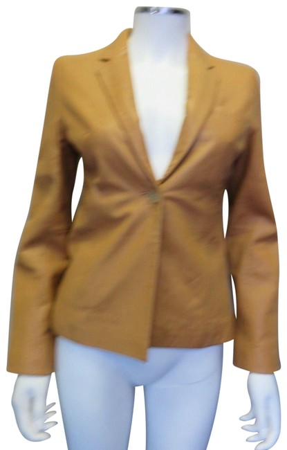 Item - Tan One Button Soft Leather Jacket Size 0 (XS)
