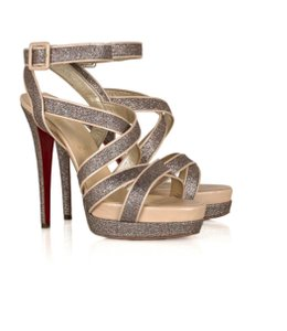 Christian Louboutin Silver glitter and nude Sandals