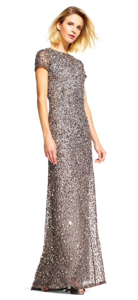 Adrianna Papell Lead Round-neck Beaded A Line Gown Long Formal Dress ...