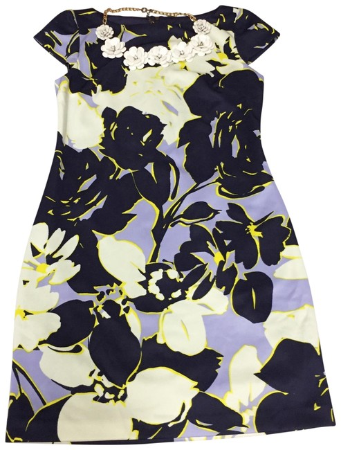 Item - Blue and Yellow Floral Cocktail Dress Size 6 (S)
