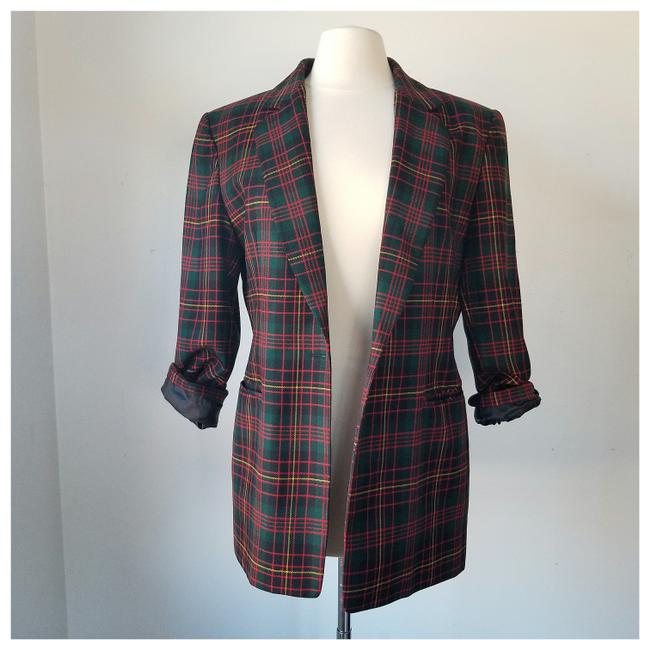 Item - Red Black Green Yellow Tartan Plaid None Blazer Size 10 (M)