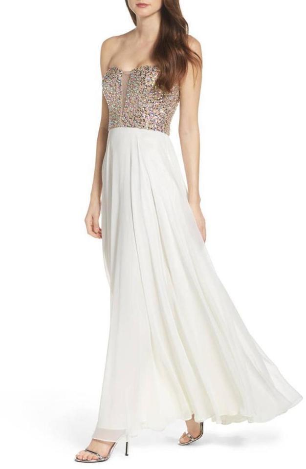 Xscape White Embellished Sequin Chiffon Strapless Gown (Ivory/Gold ...