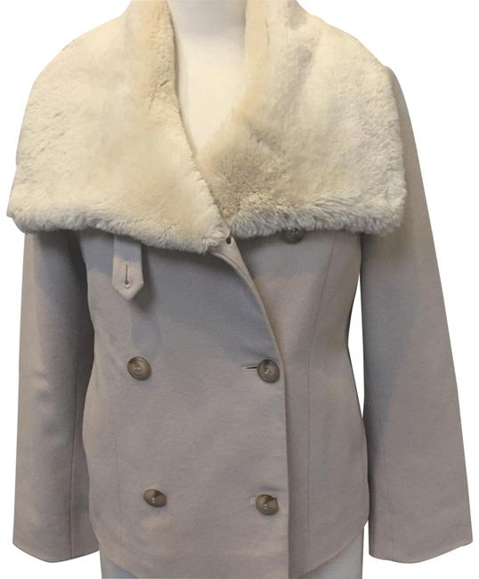 Item - Beige Material White Beaver Collar Classic City Coat Size 6 (S)