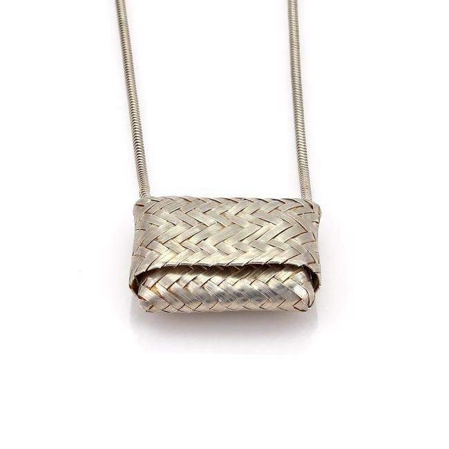 Tiffany Co Sterling Silver Vintage Basket Weave Purse Slide Pendant Chain Necklace Tradesy