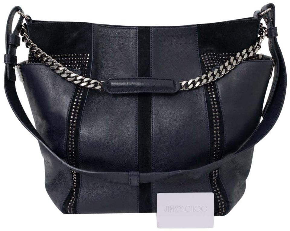 7c104dce0764 Jimmy Choo Anna Handbag Dark Navy Blue Suede Leather and Leather ...
