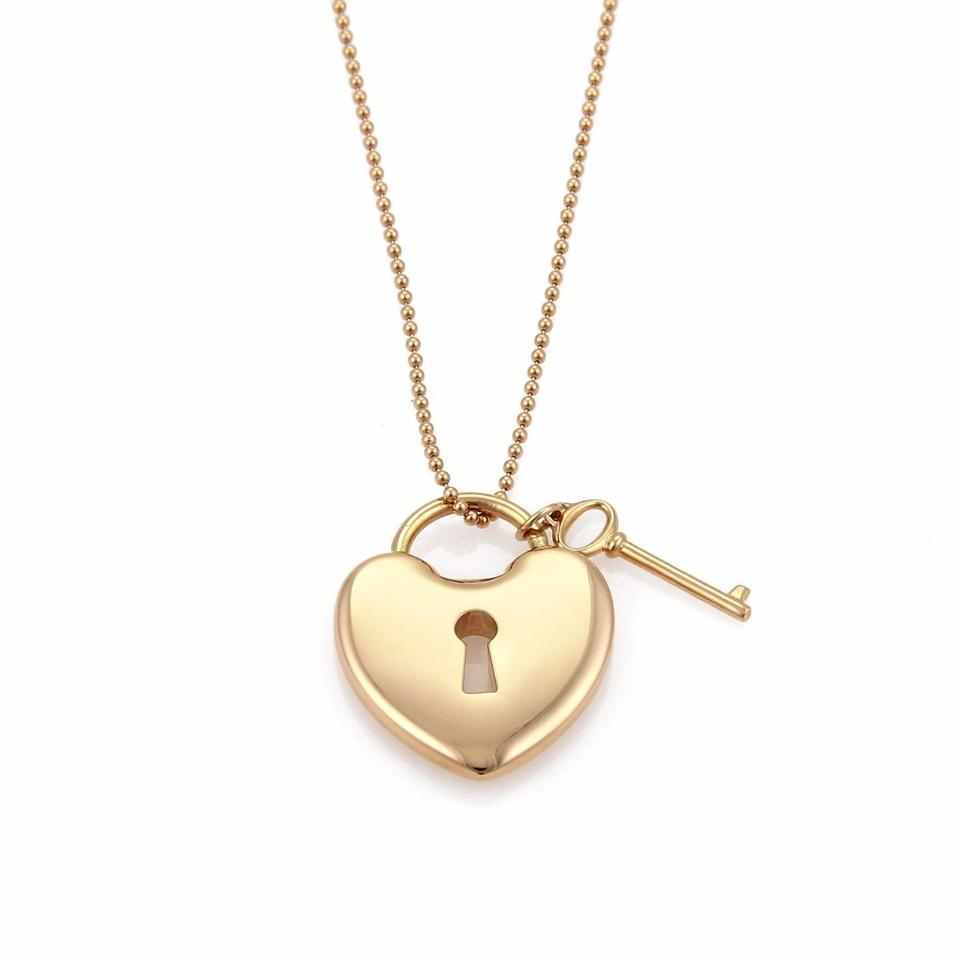 Tiffany co rose gold 18k heart padlock key pendant bead chain 18k rose gold heart padlock key pendant bead chain necklace aloadofball Image collections