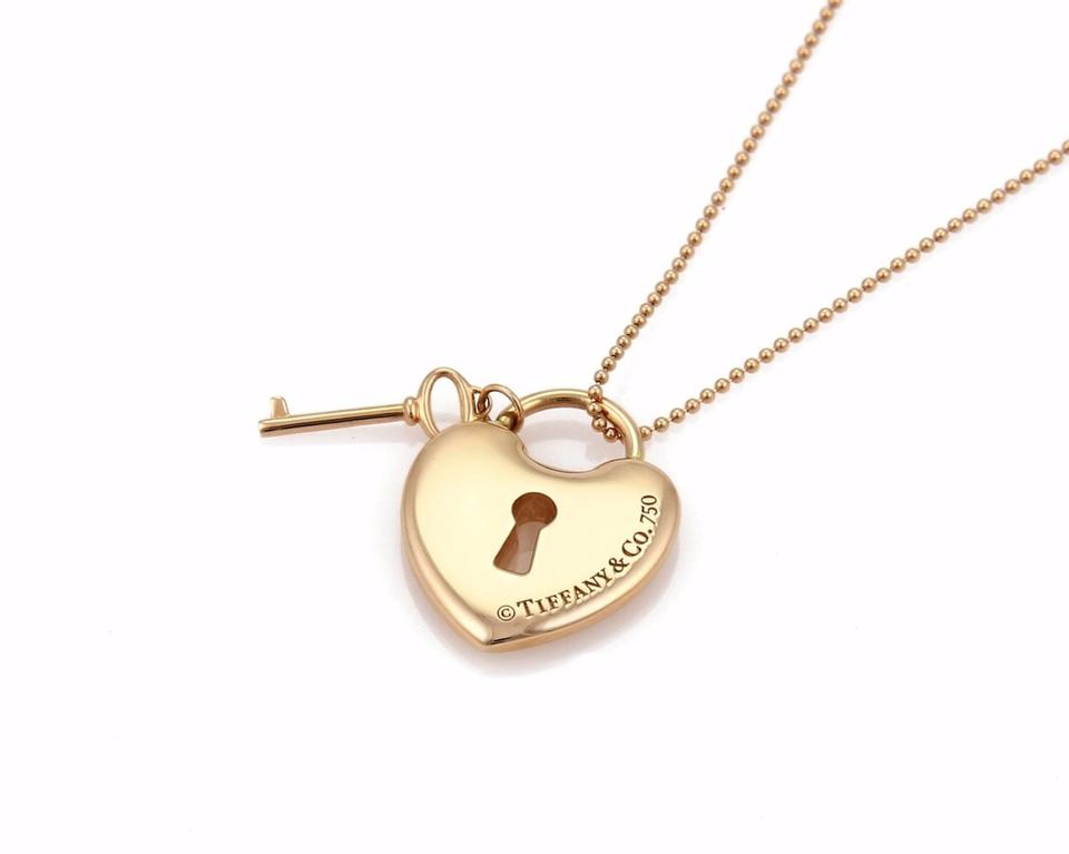 920e35ec8 Tiffany & Co. 18k Rose Gold Heart Padlock & Key Pendant Bead Chain Necklace  Image. 123456