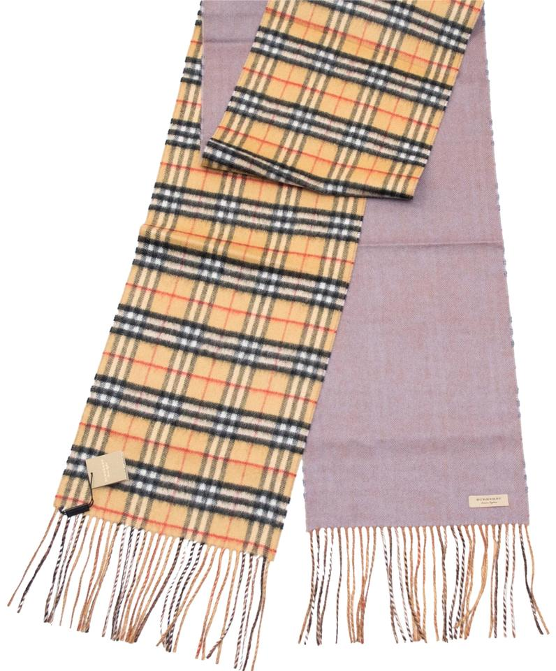 latest cozy fresh designer fashion Burberry Lilac Grey Reversible Castleford Check Cashmere Scarf/Wrap 32% off  retail