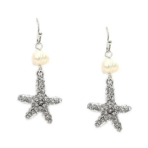 Mariell Silver Freshwater Pearl Beach with Crystal Starfish 4527e-s Earrings
