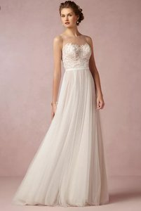 BHLDN Ivory Bronze Tulle; Polyester Lining Penelope Gown (New ) Feminine Wedding Dress Size 2 (XS)
