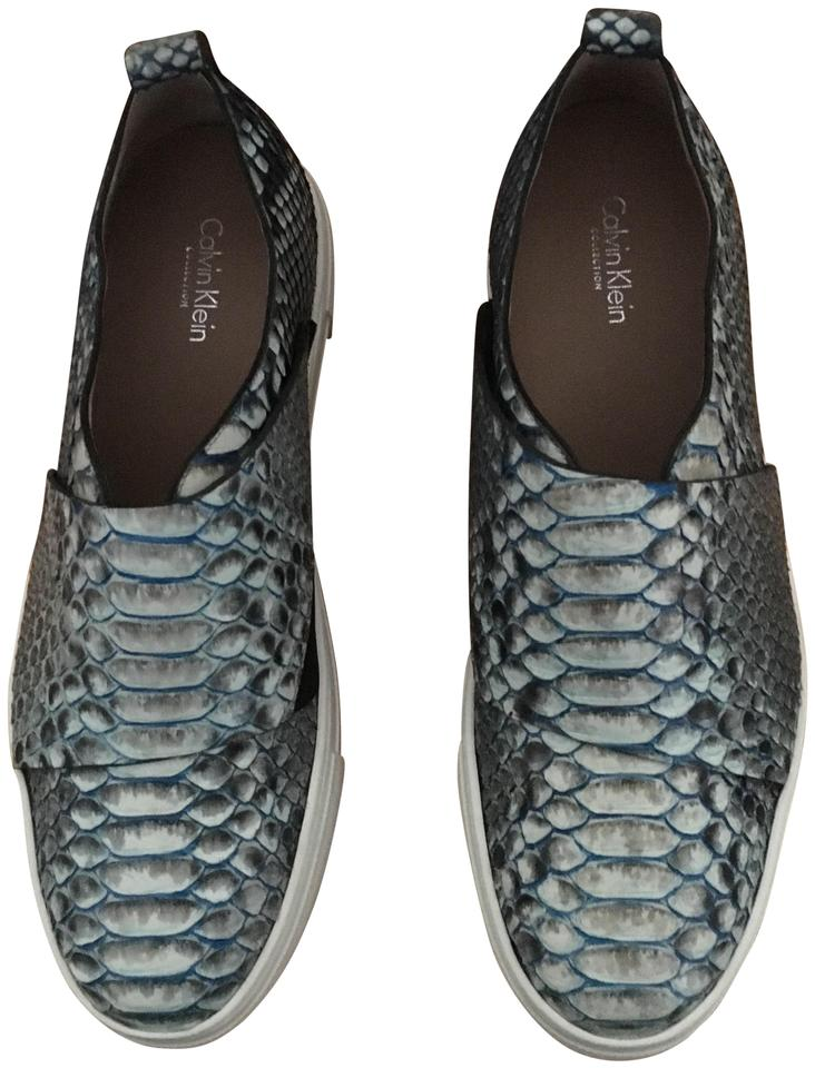 3be1e77f28110 Calvin Klein Collection Blue Ariel Python Sneakers Platforms Size US ...